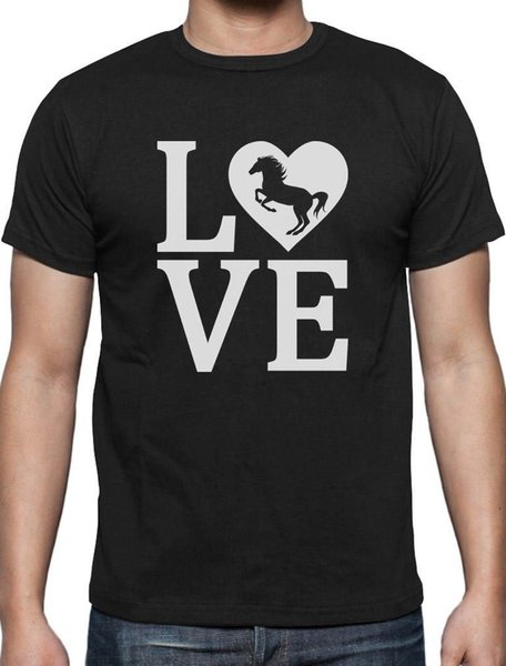 Regalo de los caballos del amor para el amante del caballo Camiseta Crianza Caballo Algodón de calidad superior Casual Hombres Camisetas Hombre Envío gratis