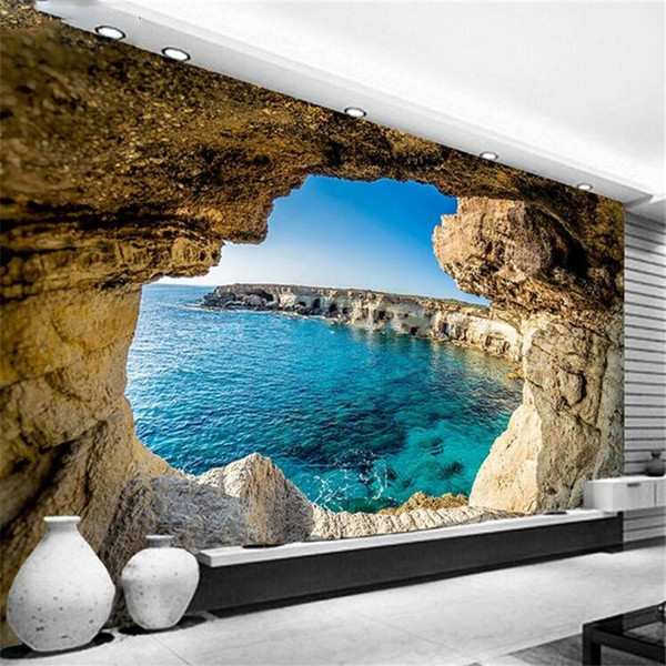 Photo Wallpaper Modern Simple Cave Seascape Nature Mural Living Room Bedroom Interior Decor Wallpaper Space Expansion
