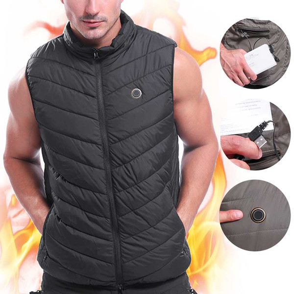 men women electric heating vest washable sleeveless outdoor sports flexible skiing hiking temperature control usb charging, Gray;blue
