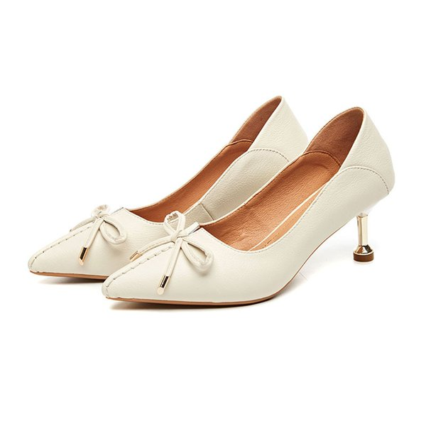 2019 Sexy Pointed Toe Women Pumps Thin Heels Women Leather Shoes Platform Slip-on Shoes High Heel 2018 Brand