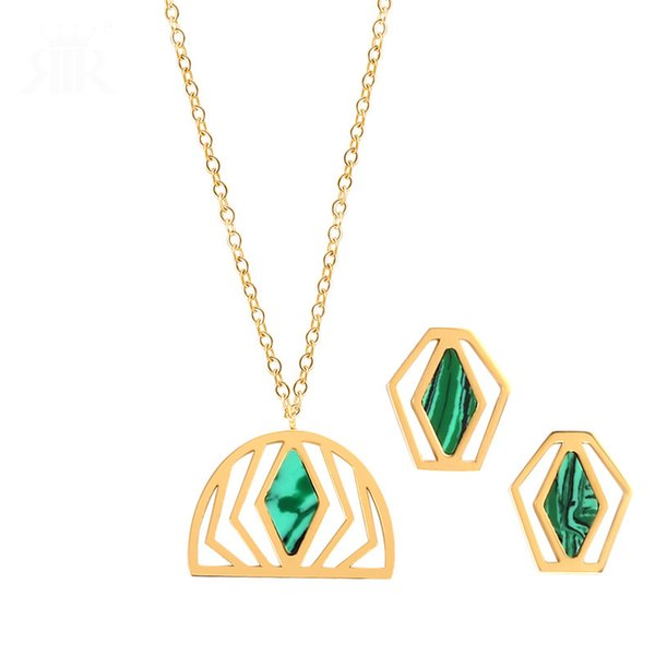 Fashion Women Jewelry Sets Turquoise Luxury Earring Necklace Sets Simple Style Studs Necklaces Gold Plated Earrings Necklace For Girls