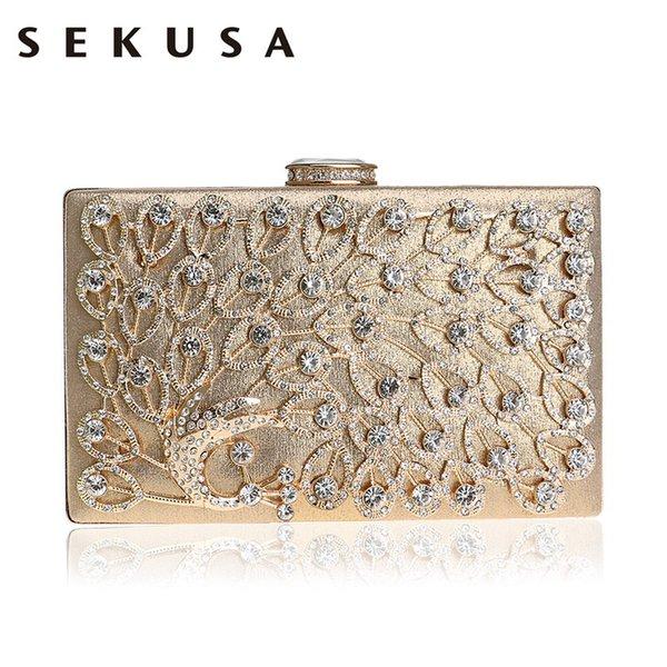 Sekusa Peacock Strass Metall Frauen Clutch Bag Gold / Silber / Schwarz Diamanten Kette Handtaschen Kristall Party Hochzeit Tasche Q190429
