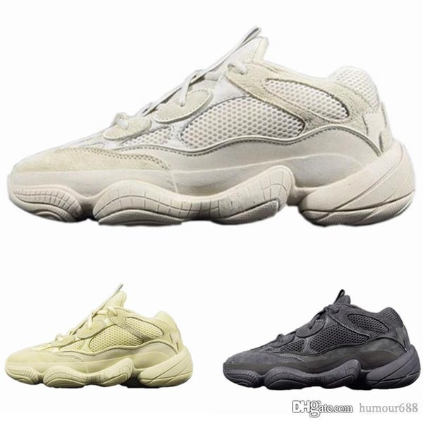 500 Kanye West casual Shoes Blush Desert Rat 500 Super Moon Yellow Mens Women Sneaker Sports Shoes With Box+Receipt+Keychain+Socks
