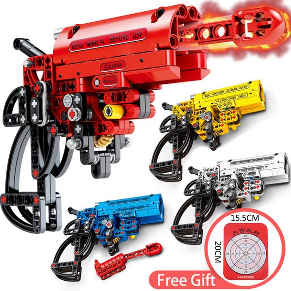 156pcs / Set de bricolaje juego de disparo del arma de señal modelo de bloques de construcción de ladrillo compatible Ensamble juguete Arma Educación para los niños chicos regalo de Navidad