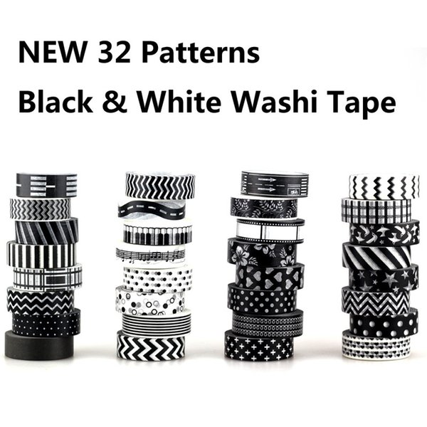 1X 10m Christmas Japanese Paper Tape Black and White set Scrapbooking DIY Craft Sticky Decorative Adhesive Tapes