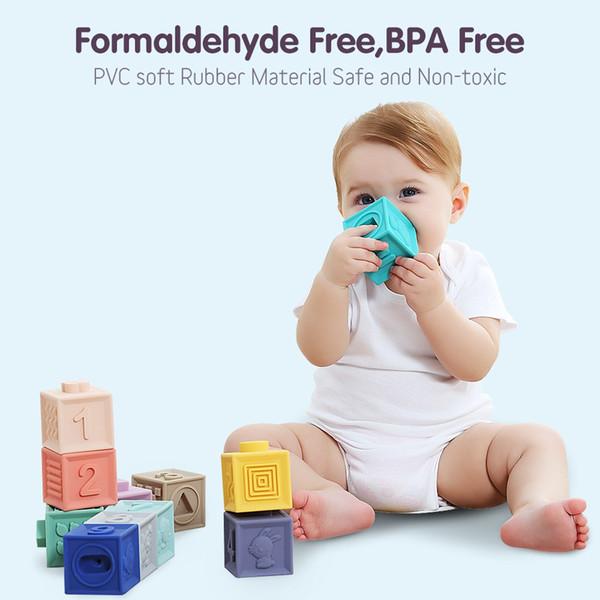 3D geprägte weiche Gummibausteine können Baby-pädagogische Spielwaren beipv