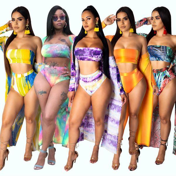 Sexy Tie Dye Print 3 Piece Set Swimwear Cloak + Crop Top + Short Pants Strapless Women Piece Outfits Swim Suits