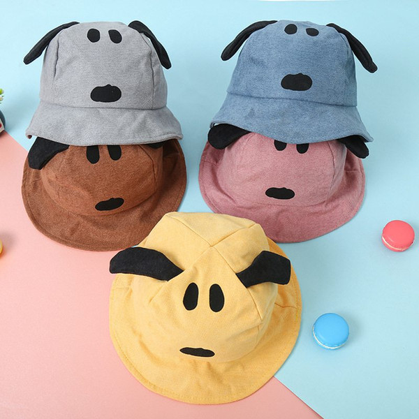 Cartoon Embroidery Puppy Child Fisherman Hat New Baby Cute Basin Cap Cotton Hat Outdoor Leisure Cap