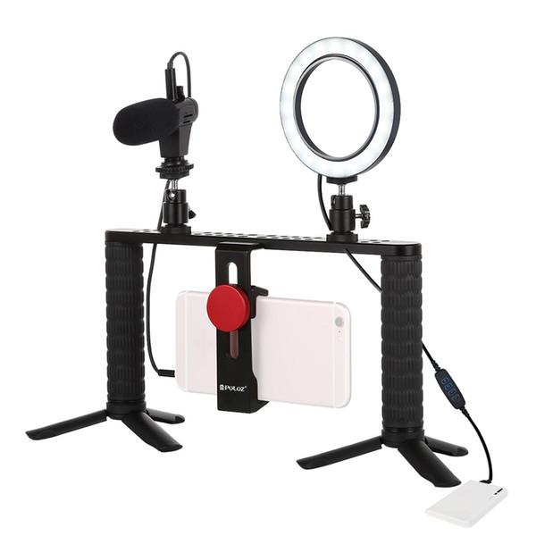 PULUZ 4 in 1 Vlogging Live Streaming Video Recording Broadcast Microphone LEDs Rings Fill Light Selfie Smartphone Holder