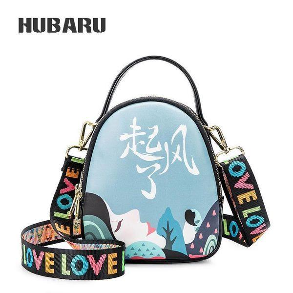 HUBARU Women Bag Female Crossbody Bag Slanting Satchel Wide Shoulder Strap Single Shoulder Fashion Print Handbag Mini Messenger