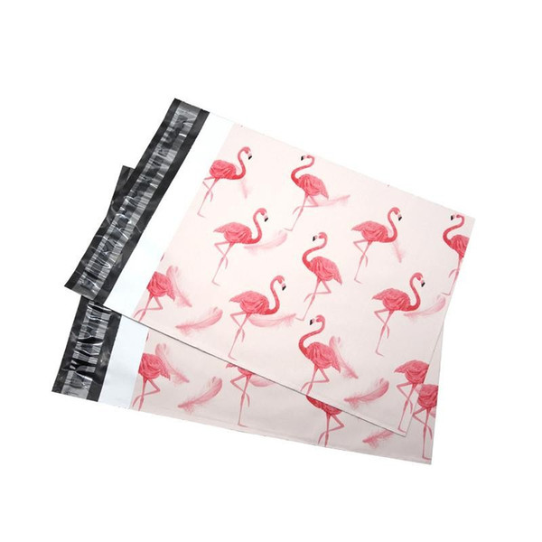 25.5*33cm 10*13 inch Fashion Pink Flamingo pattern Poly Mailers Self Seal Plastic mailing Envelope Bags