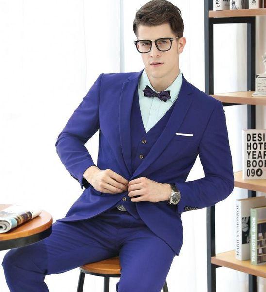 Brand New Slim Fit Groom Tuxedos Notch Lapel Groomsmen Mens Wedding Dress Popular Man Jacket Blazer 3 Piece Suit(Jacket+Pants+Vest+Tie) 896