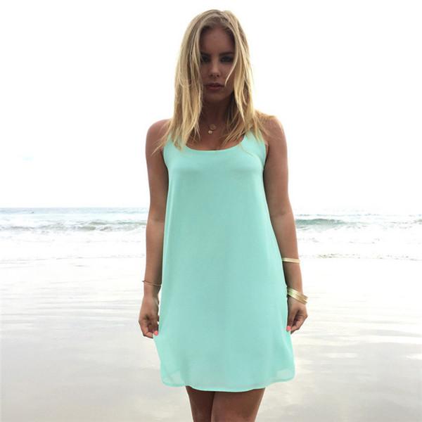 Hot Summer Femmes Robes De Mousseline De Soie Bowknot Lâche Scoop Cou Sans Manches Party Dress Filles Femme Causal Vêtements