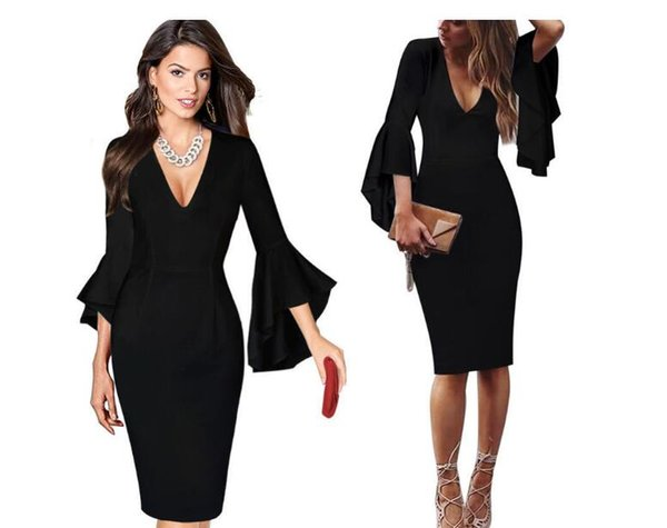 Cheapest Size Hot Style Dress Sexy New Long Waist Dress Flared Sleeves