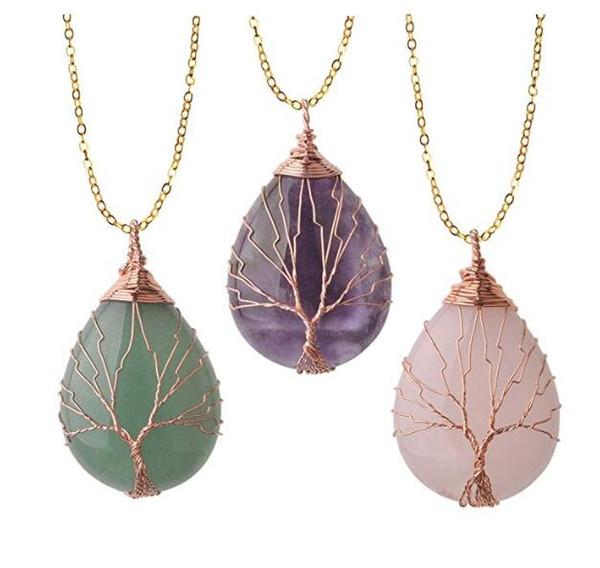 10 Pz / lotto Vintage Tree of Life Wire Avvolto Rame Teardrop Pietre preziose Naturale Collana Pendente per il regalo delle donne
