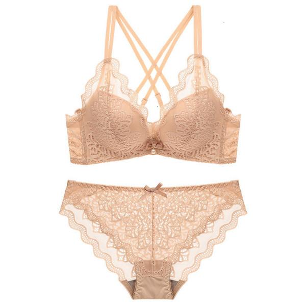 Нажмите Femme Lingeries Бесшовные бюстгальтер Мода французский Lace Sexy Up Bra Комплект белья Белье Собирают siere провода Free Женщины Bh Романтический
