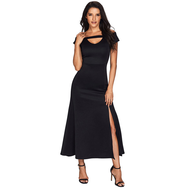 2019 Black Bateau Party Dresses Tea-Length Tubino Colonna senza maniche Side Split Prom Dresses Abiti da festa Ball Gown