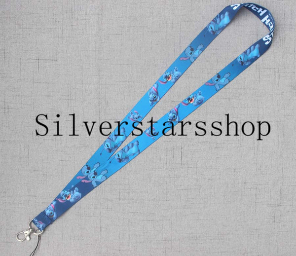 One piece Lovely Blue Cartoon Alien Image Mobile Chain Lanyard ID Badge Holders Mobile Neck Key chain