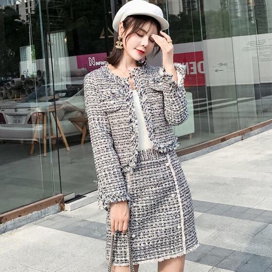 2019 Pist Kadın Sonbahar Kış Küçük Koku 2 Parça Set Tüvit Püskül Boncuk Ceket Kaban + Mini Kalem Etek DF251 Suits