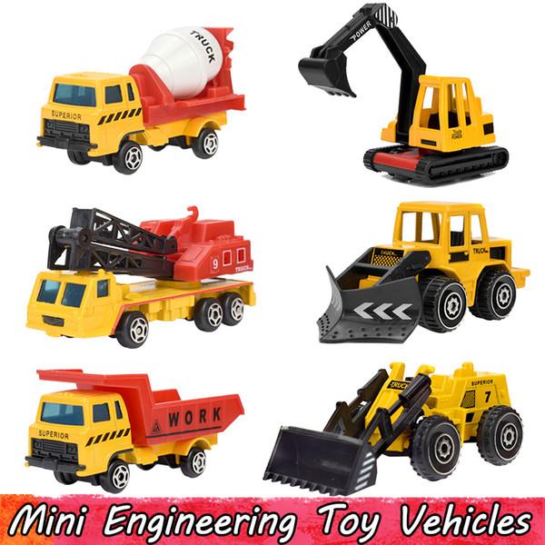 6 Pcs/Set Mini Alloy Engineering Car Model Toys for Children Dump Truck Toy Diecast Plastic Construction Vehicles Gift For Boys