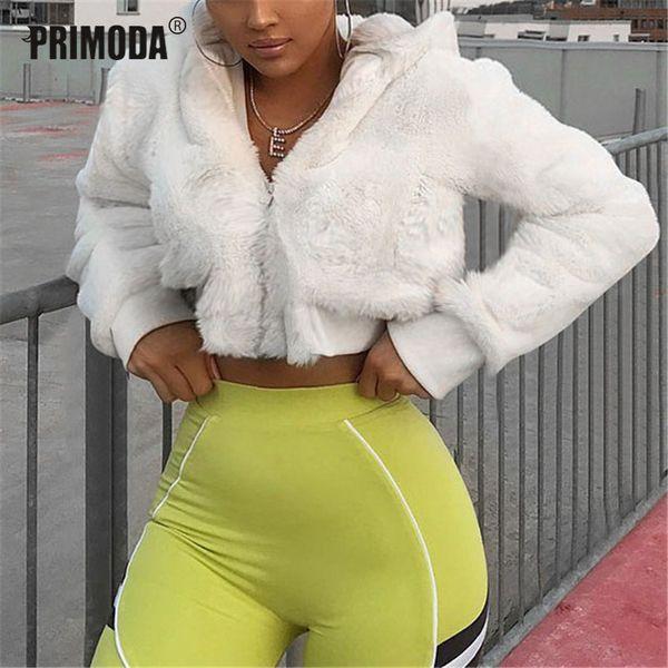 2019 зима теплая пальто Femme уличная полный флокирование искусственного меха обрезанные куртки женщины с капюшоном партии белые наряды пальто PR321M