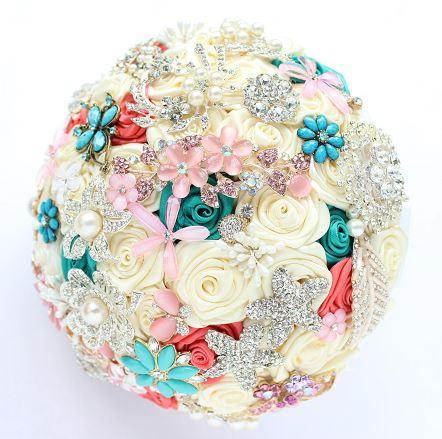Fresh and elegant jewelry wedding bouquet pink green embellishment blooms the most amazing