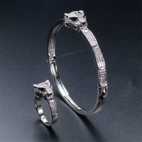 Newest Luxury Animals Bracelets Rings Exquisite Full CZ Diamond Cheetah Rings Bangles Sets Fashion Silver Rose Wedding Jewelry Lovers Gifts
