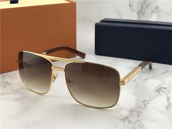 Classic Gold Attitude Sunglasses Square Pilot Sunglasses Sonnenbrille Mens Luxury Designer Occhiali da sole Occhiali da sole Nuove con scatola
