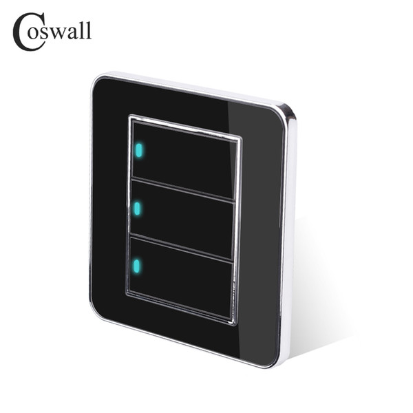 Wall Light Switch Coswall Brand 3 Gang 2 Way Random Click Push Button With LED Indicator Acrylic Crystal Panel Black Mirror