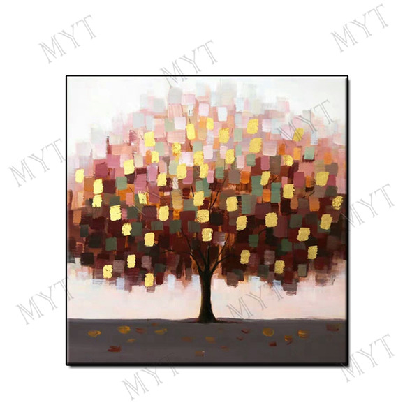 Artwork modern oil painting abstract wall art home decor Hand-painted lucky tree landscape on canvas for living room bedroom no framed