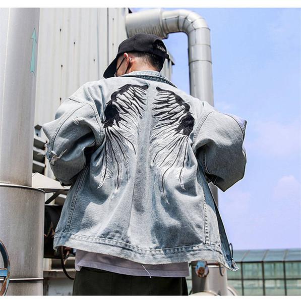 New Herren Designer Jeans Jacket Men Straßen Flügel Stickerei Denim-Mantel-Mann-Loch Jean-Mantel-Jacken Hip Hop Outwear