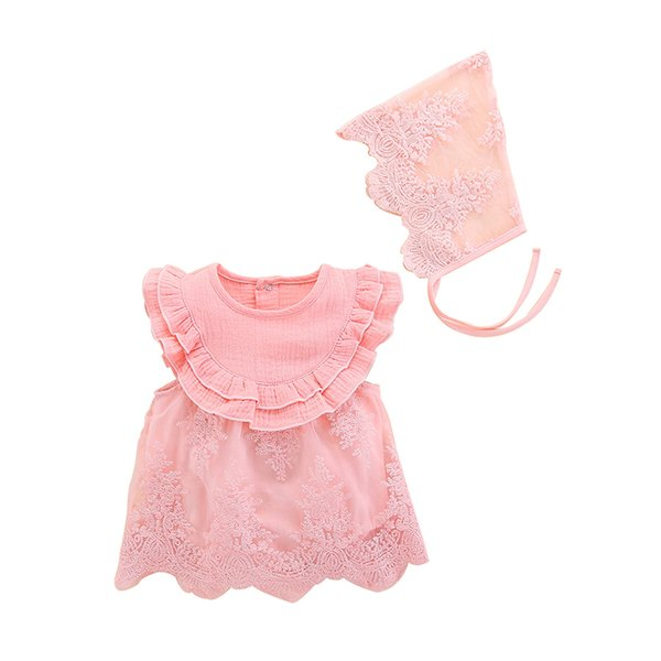 Wholesale Baby girls clothing 2pcs Summer girls princess dress kids designer clothes girls pink lace dress for a full moon birthday gift