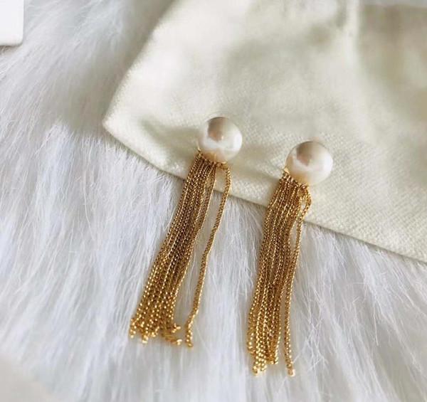 Hochwertige Gelbgold Überzogene Perle Quasten Ohrringe für Mädchen Frauen für Party Hochzeit Schönes Geschenk für Freunde