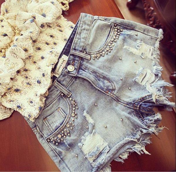 2019 New Summer Women Diamond Beading Denim Shorts Casual Ladies Jeans Shorts Rq125 Y190429