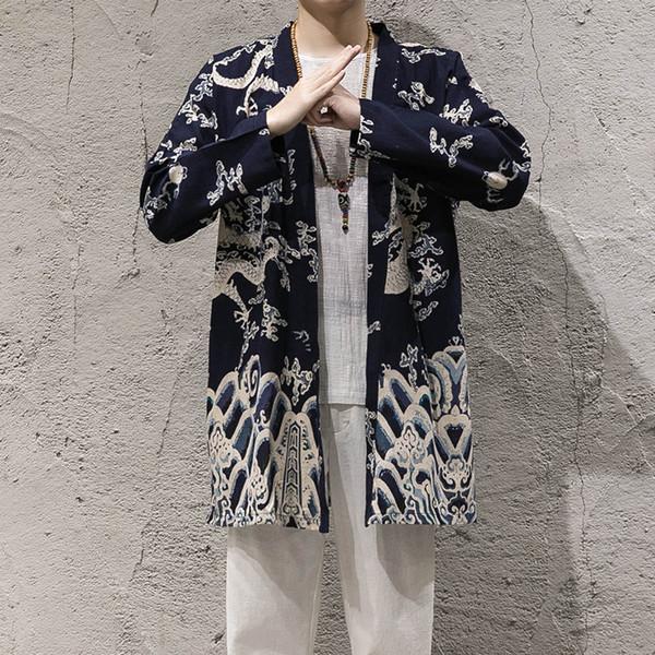 Erkek Bahar Sonbahar Ceketler Pamuk Keten Çiçek Baskılı Tai Chi Usta Kostüm Erkek Geleneksel Çin Giyim CN-107