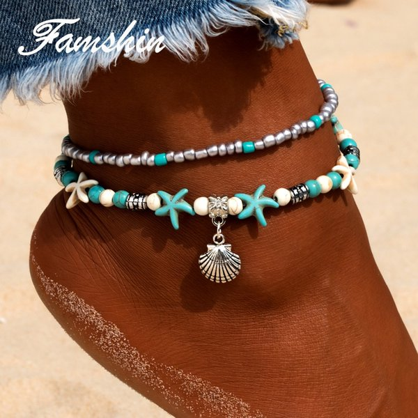 FAMSHIN Bohemian Multiple Layers Starfish Shell Beads Anklets For Women Vintage Boho Shell Chain Anklet Bracelet Beach Jewelry