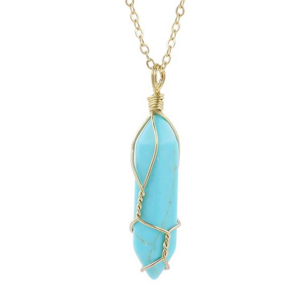 Collares de piedra natural de las mujeres colgante de columna hexagonal azul turquesa suéter cadena rosa púrpura cristal encanto collar joyas de piedras preciosas