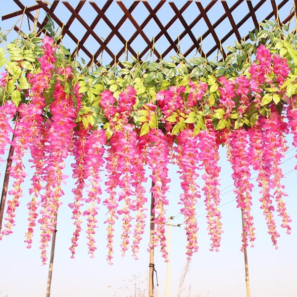 110cm Decorazioni di nozze Glicine di seta artificiale Viti di fiori appesi Rattan Fiori di ghirlanda Ghirlanda per giardino dell'hotel domestico