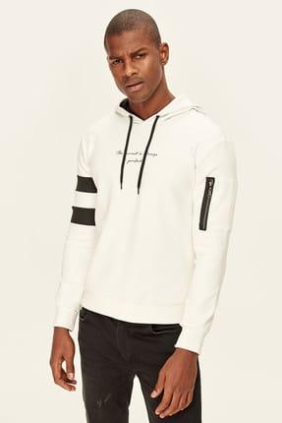 Beyaz İşlemeli Kapüşonlu Sweatshirt Kol Fermuarlı ve Baskılı TMNAW19PO0025