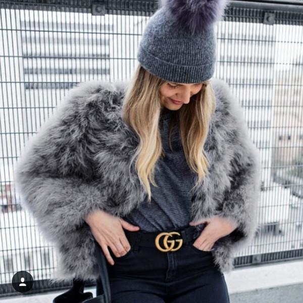 Super Warm Women's Imitation Fur Ostrich Hair Coat High Waist Faux Fur Loose Floacking Coat Turkey Hair Jacket Cardigan