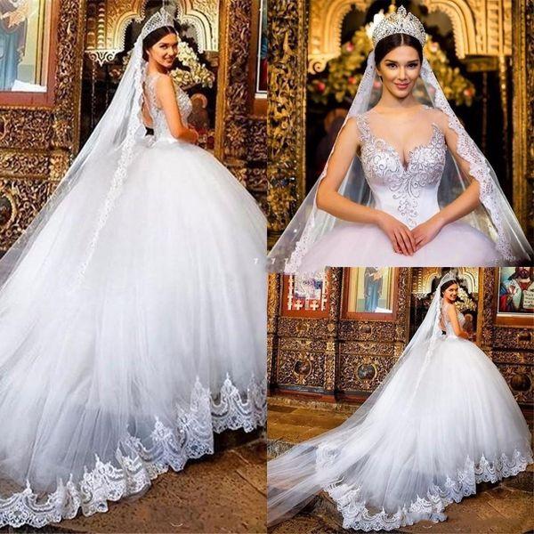Старинные Принцесса свадебные Dreses с чистой шеи без рукавов длиной до пола на заказ бальное платье Vestido де Novia