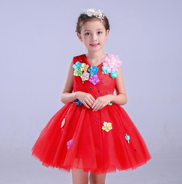 7 Größen Kinder Leistung Kleid Gedichte Rezitation Chor Prinzessin Blume Pailletten Poncho Rock Studenten Presidingd Kleider RH0012