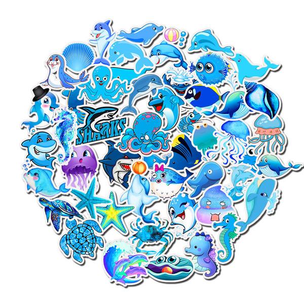 49 pcs Blue Ocean World turtle, shark, Dolphin pvc Waterproof graffiti stickers DIY Refrigerator Car Decorative stickers Patch