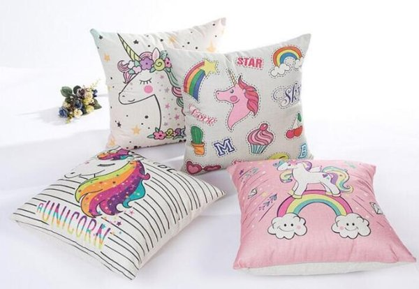 Amazing New Unicorn Flax Pillowcase 45 45Cm Home Pillow Cover Unicorn Cushion Chair Seat Cover Decorative Unicorn Pillow Casedhl Cheap Pillow Cases Pillow Caraccident5 Cool Chair Designs And Ideas Caraccident5Info