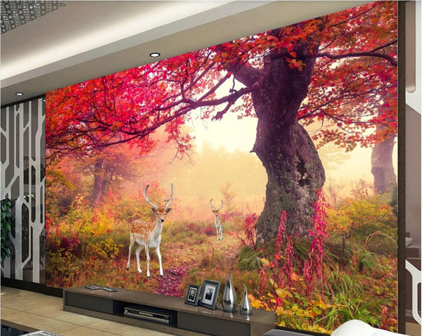 3d Room Wallpaper Custom Photo Mural Big Tree Red Leaves Landscape Background Wall Baby Wallpapers Wall Paper Large Wallpaper For Walls 3 D Computer