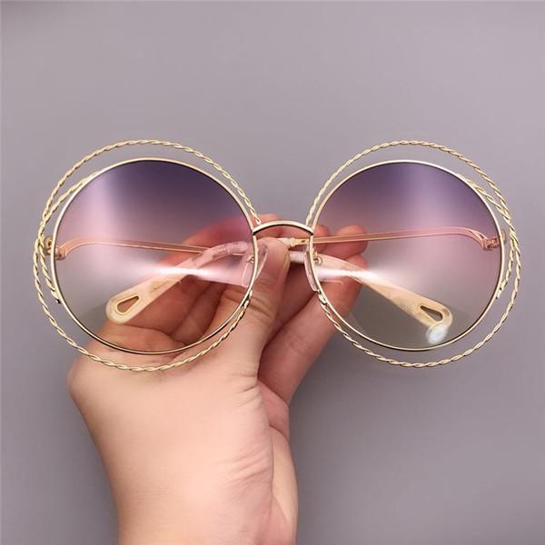 Fashion Round Sunglasses Big Frame Sunglasses for Women Oversized Sunglasses Brand Gradient Rainbow Lenses Sun Glass with Original Box