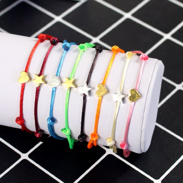 Fashion Silver Gold Stars Heart Handmade Knots Lucky Red String Rope Bracelet Adjustable Simple Bracelets for Woman Man