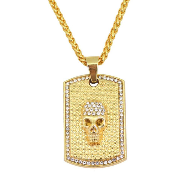 hip hop skull tag diamonds pendant necklaces for men western rapper luxury necklace alloy rhinestones Cuban chains jewelry free shipping