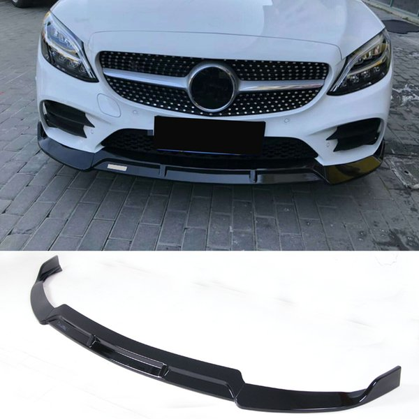 B Style PP material Bumper Bright black Front Lip For BENZ C Class W205 C180 C260 C300