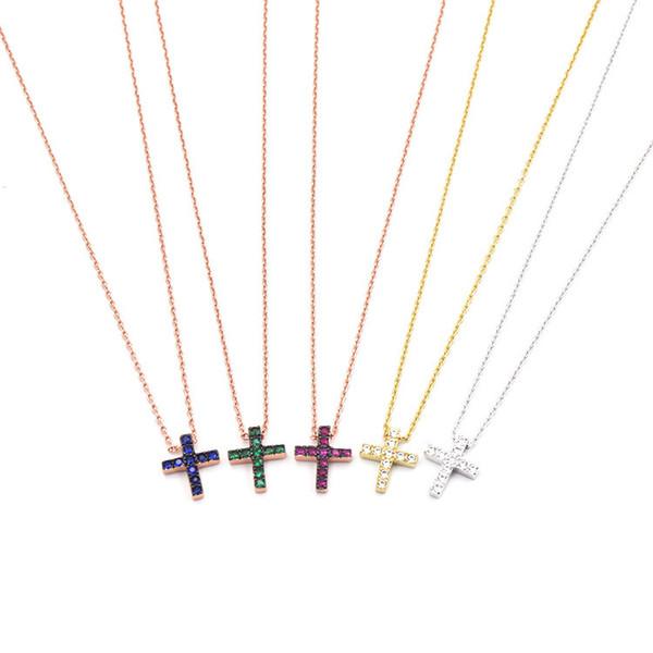 Высокое Качество Горячей продажи Медь Micro-инкрустированные Ювелирные Изделия Красиво Компактный Крест-шипованных Синий Бирюзовый Ожерелье подарок